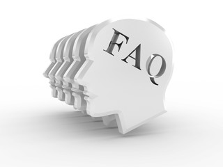 Head with word FAQ on white background. 3D image