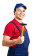 Repairman holding a hammer isolated