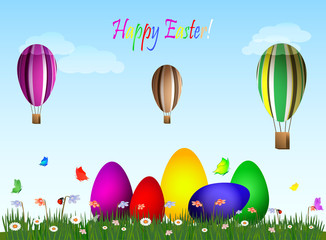 Easter eggs on a green field - hot air eggs balloons