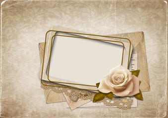 Old frame on the vintage background