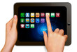 Hands holding digital tablet computer with icons.