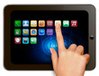 Hand holding digital tablet computer with icons