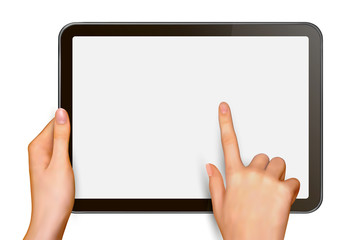 Finger touching digital tablet screen  Vector
