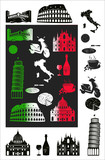 Italy picture and b-w hallmarks poster
