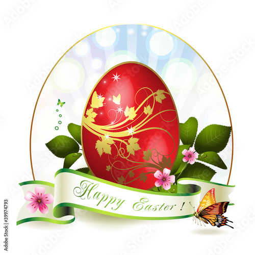 Easter card with red egg and butterfly
