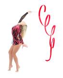 Slim flexible woman rhythmic gymnastics art poster