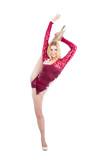 Slim flexible woman rhythmic gymnastics art dancer stand on spli poster