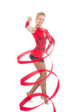 Slim flexible woman rhythmic gymnastics art dancer poster