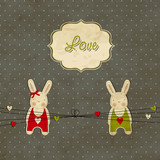 Fototapety Vintage scrap template with bunnies, love card