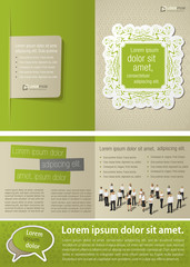 Green vintage template for advertising with business people
