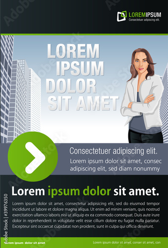Green and black template for advertising with woman on the city