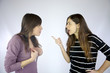 Girls arguing strongly very angry
