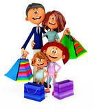 3D shopping family