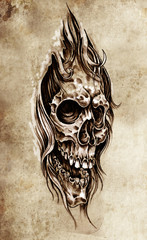 Sketch of tattoo art, skull head illustration, vintage style