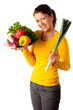 Attractive young woman with basket of vegetables