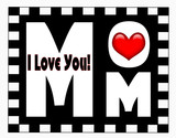 Mother's Day message on black & white checked frame & red heart
