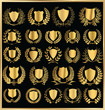 set - golden shield and laurel wreath