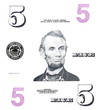 set detail 5 $ dollars, with Lincoln, isolated on white