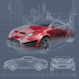 Fototapety Sports car sketch. Original car design.