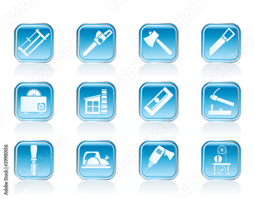 Woodworking industry and Woodworking tools icons