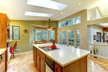Green large country kitchen with forest view.