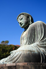 Side view of the Famous Great Buddha in Kamakura - Japan
