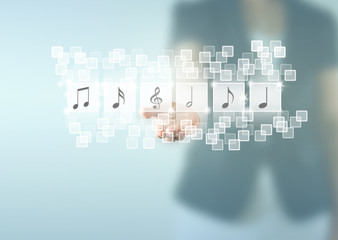 Business woman holding music notes