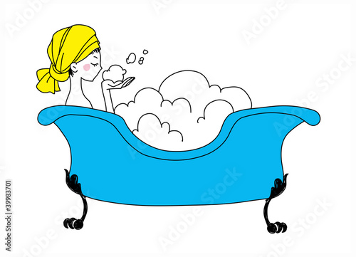 side view of woman sitting in bathtub