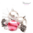 Silver and pink Christmas ball baubles with silver decoration