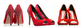 Red dress shoes (rear, side and front views) over white