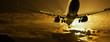 Passenger jet landing against amber sky - 39987327