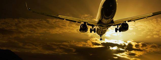 Passenger jet landing against amber sky