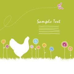 Huhn auf Frühlingswiese
