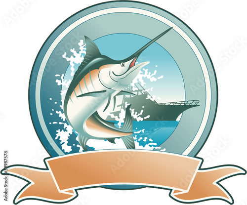 Blue marlin vector badge