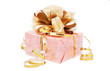 festive packed rosy nacreous present with golden bow isolated on