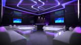 Purple cyber interior room