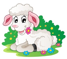 Cute lamb with flowers
