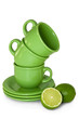 Cup , with green lime.