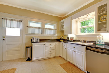 KItchen with white cabinets and stain steel appliances.