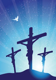 three crosses with dove