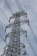 high voltage electricity pylon with sky as background