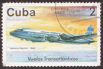 CUBA - CIRCA 1988 A post stamp printed in Cuba shows  plane