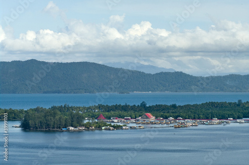 Houses on an island on the lake Sentani