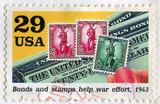 Bonds and stamps help war effort poster
