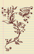 Sketchy Doodle Elegant Flowers and Vines Vector Illustration