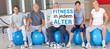 Werbebanner für Fitnesscenter mit Senioren