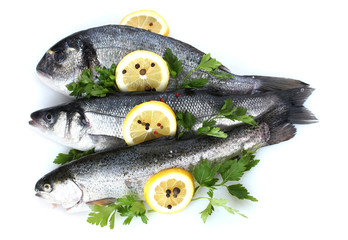 Fresh fishes with lemon, parsley and spice isolated on white