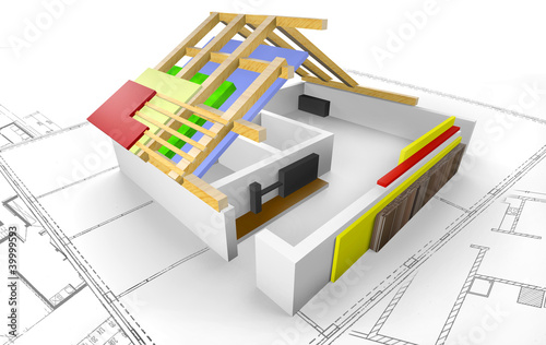 Haus - Grundriss mit Dachkonstruktion - 3D