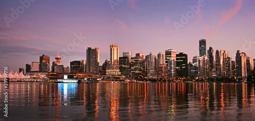 Foto op Canvas Canada Vancouver downtown skyline panorama at sunset