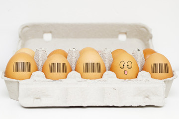 Eggs with same barcodes and one egg is different